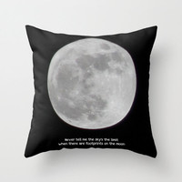 Art Throw Pillow Cover The Moon photography typography black white photo Indoor Outdoor Covers photograph home decor inspirational quote