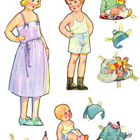 girl boy paper doll clothes set clip art collage sheet digital graphics childrens craft printables