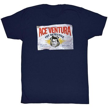 Ace Ventura T-Shirt Pet Detective Beat Up Business Card Navy Tee