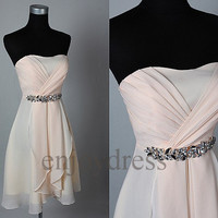 Custom Light Pink Beaded Short Bridesmaid Dresses 2014 Simple Prom Dresses Formal Evening Gowns Wedding Part Dresses Fashion Party Dress
