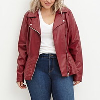 Plus Size Quilted Peplum Moto Jacket
