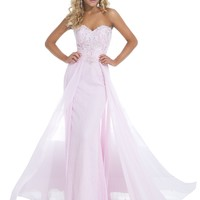 Tony Bowls Le Gala 114538 Strapless Lace Prom Dress, Ice Pink, 14