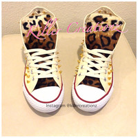 Custom Spiked Converse with Leopard -made to order-
