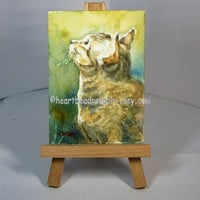 Cat Aceo, animal, peinture, miniature painting, portrait, id1330186, original watercolor, not a print, wallart