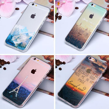 "3D Paint Clear TPU Silicone Case For iPhone 6 6S 4.7"" Acrylic Phone Back Cover Sweet Cherry Flower Scenery Coque for iphone6 6 S"