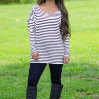 The Perfect Piko Tiny Stripe Top-Burgundy/White