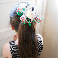Christmas boutique stacked pinwheel hair bow scrunchie hair tie
