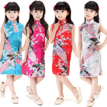 New Retro Chinese Kid Child Girl Baby Peacock Cheongsam Dress / Qipao 1-8Y Clothes