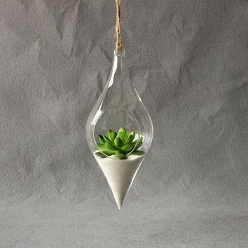 ac NOOW2 Hanging Glass Vase Hanging Terrarium Hydroponic Plant Flower Clear Container Indoor Hanging Vase Home Decor