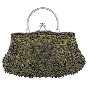 Bagood Womens Vintage Style Beaded Sequined Evening Bag Wedding Party Handbag Clutch Purs