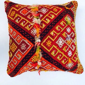 Colorful Bohemian Kilim Pillow Home Decor pillow case Cushion cover Ethnic Euro Sham Shabby Chic Boho Home Decor 16x16 Living room Decor
