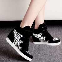 Trendy Leopard Velcro Strap Wedge Sneakers