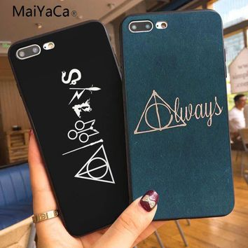 MaiYaCa always Harry Potter Deathly Hallows Colorful Cute Phone Case For iphone X XS XR XSMax 7 8plus Black Case And 5s SE 6 6s