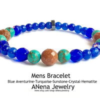 HOPE Mens Bracelet By ANena Jewelry : Blue Aventurine, Turquoise, Sunstone, Crystal and Hematite