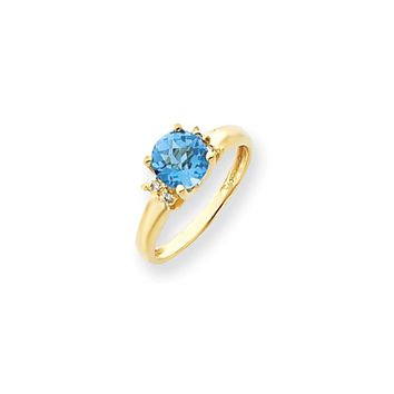 0.028 Ct  14k Yellow Gold 7mm Blue Topaz Checker Diamond Ring SI2/SI3 Clarity and G/I Color