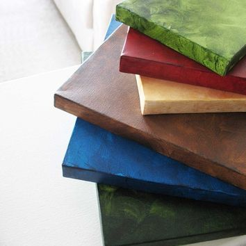Home Decor - Canvas Art - Three Large Squares - Green, Brown, Blue 10x10