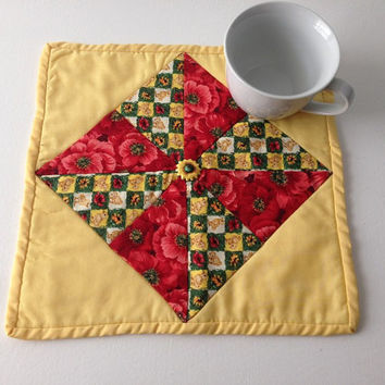 Bird Mini Quilt, Trivet, Hot Pad, Candle Mat, Red Poppies,  Flowers, Chickens, Sunflowers, Mug Rug, Yelllow and Red