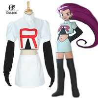Pokemon Go Cosplay ROLECOS Anime Pocket Monster Women Cosplay Costumes Team Rocket Jesse Top and Skirt Costumes Pokemon Cosplay