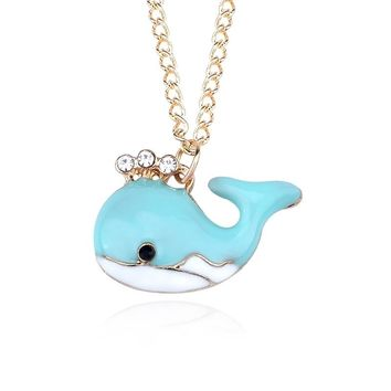 Lovely Whale Necklace Rhinestone Enamel Fish choker Necklace For Women Girls Fashion Animal Gold Chain Jewelry collier femme