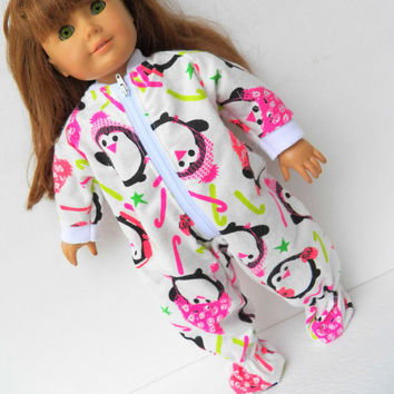 "American Girl 18"" Doll Clothes Pajamas Sleeper Pjs Penguin Candy Cane Star Christmas Holiday Flannel Zip Up Feetie"