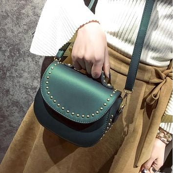 round leather bags rivet handbags pu women small casual women bag messenger bags crossbody shoulder handbag ladies bolsos mujer