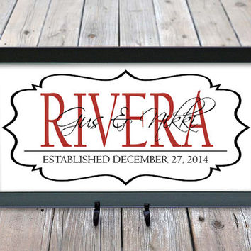 Personalized Family Last Name Signs,  Engagement, Bridal Shower Gift, Family Established Sign, Last name gifts, Wall Decor