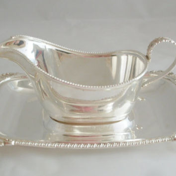 Sheffield Reproduction Silver Plate Gravy Boat and Drip Tray