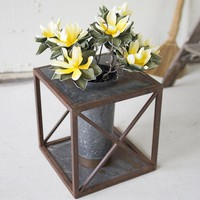 Single Round Metal Planter With Cross Base