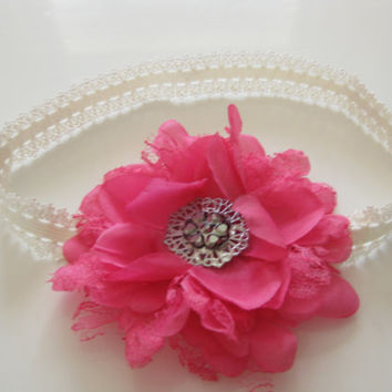 Girls shocking pink flower headband - pink silk flower, baby headband, toddler headband, hair accessories,newborn photo prop