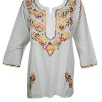 Mogul Interior Womens Tunic Top Handmade Paisley Embroidered Elegant Style Top S (White): Amazon.ca: Clothing & Accessories