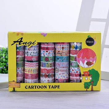 15MM*2M Large Box Packaging 60pcs/lot Cartoon Color Paper Tapes Handmade DIY Decorative Washi Tape Colored Adhesive Tapes Set