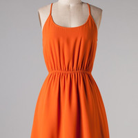 Spaghetti Strapped Chiffon Dress With Cut Out Back - Orange