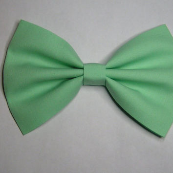 Mint color Hair Bow 5x3inchesFabric Hair by ClipaBowBoutique