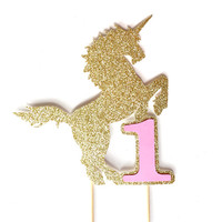 Unicorn Birthday Cake Topper - Gold Glitter Unicorn Cake Topper - Birthday Party Supplies // 1st Birthday Party Decor // Unicorn Party Decor