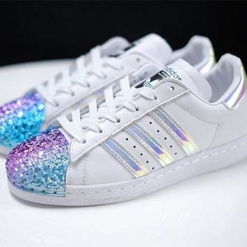 LMFON adidas Originals White Superstar 80S Trainers With Colorful 3D Metal Toe Cap Sneakers
