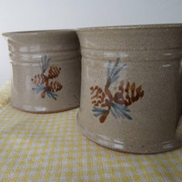 Seagrove Pottery Mugs with Pine Cones, 1984 Jugtown Ware