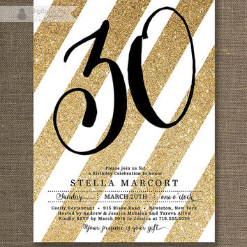 Black & Gold Birthday Party Invitation Stripes Gold Glitter White ANY AGE Milestone Birthday 30 40 50 Printable Digital or Printed- Stella