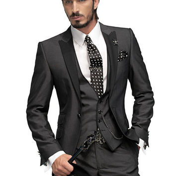 Hot Sale 2016 Men wedding/party suits /party dress/Lounge & Wedding Tuxedos /wedding suits(Jacket+Pants+Vest+Tie)