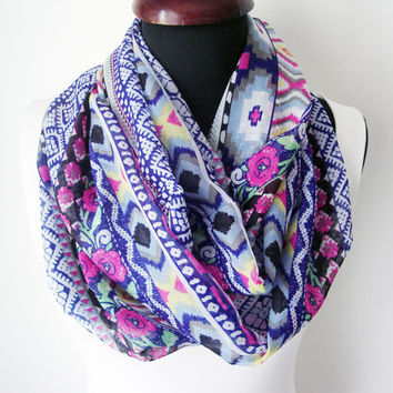 Floral Infinity Scarf For Women Summer Accessories Spring Scarves Colorful Floral Scarf Gift Idea for Women Chiffon Scarfs Summer Scarves