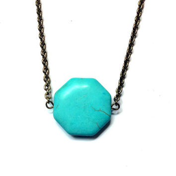 turquoise blue turquenite octagon bead necklace