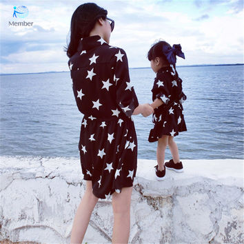 Matching mother daughter clothes Stars dress Girls long-sleeved dress lapel family matching clothes mommy and me clothes 20#