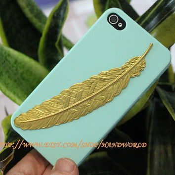 Golden Feather Hard Case Cover For Apple Ihphone 4g/4s by handworld