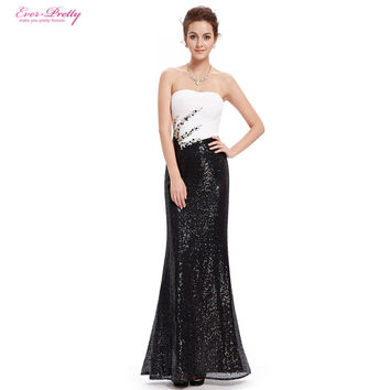 Long  Prom Dresses Women Ever Pretty HE08556 Strapless Fit and Flare Sequins 2017 Summer Style Prom Dress
