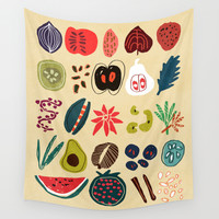Fruit and Spice Rack Wall Tapestry by Budi Satria Kwan