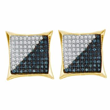 Yellow-tone Sterling Silver Mens Round Blue Color Enhanced Diamond Square Cluster Earrings 1/4 Cttw