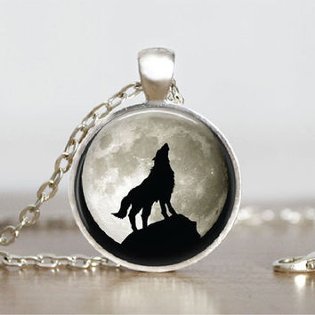 "Glass Tile Pendant Wolf Moon Glass Tile Pendant Wolf Necklace Gift 1"" Silver Round Animal Nature Jewelry"