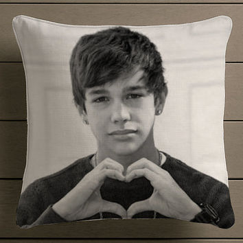 Austin Mahone Love Heart Beautiful Square Pillow Case Custom Zippered Pillow Case one side and two side