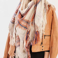 Beige Mix Color Stripe Tasseled Scarf