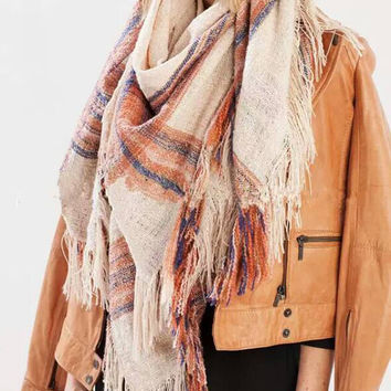 Beige Multi Color Striped Fringed Scarf