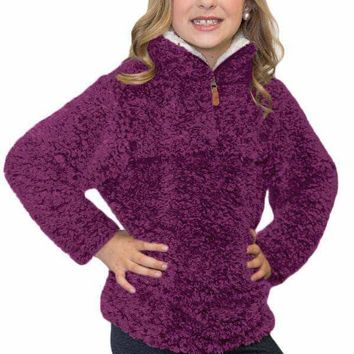 Violet Luxe Fuzzy Pullover Sherpa Girl Sweatshirt